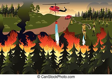 Forest Firefighters - A vector illustration of firefighters...