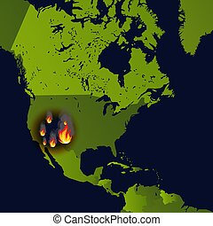 Forest fires banner, fire place on map, disaster in news, ...