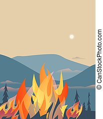 Forest fires disaster mountain trees flat vector...