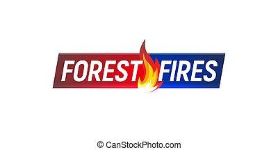 Forest fires, news headline, vector illustration