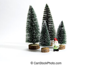 Forest firs and garden gnome - Isolated group of full...
