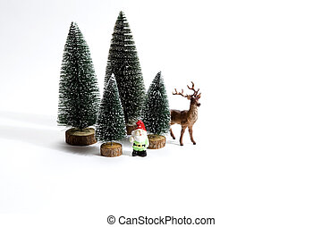 forest firs reindeer and gnome - Isolated group of full...