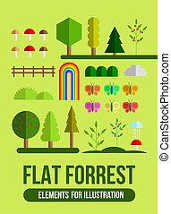 Forest flat elements set
