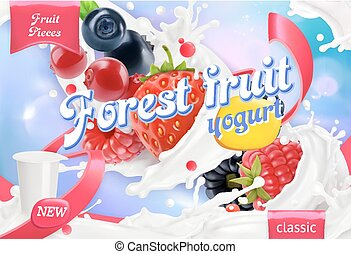 Forest fruit yogurt. Mixed berry and milk splashes. 3d realistic vector package design