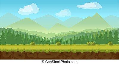 forest game background 2d application. Vector design. ...