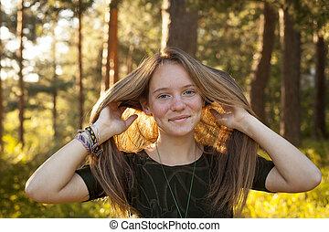forest., girl, ensoleillé, heureux