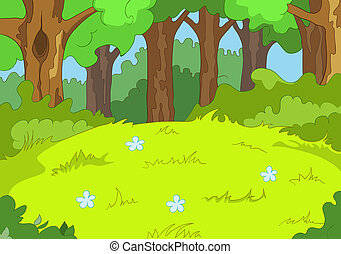 Forest Glade. Cartoon Background. Vector Illustration EPS 10...