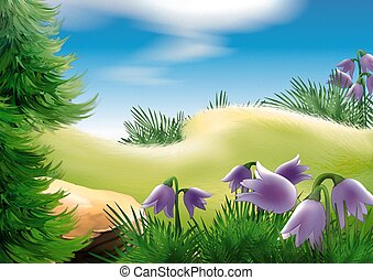 Forest glade - Highly detailed cartoon background 22 -...
