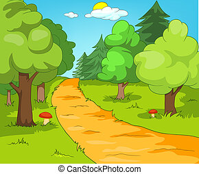 Forest Glade. Cartoon Background. Vector Illustration EPS...