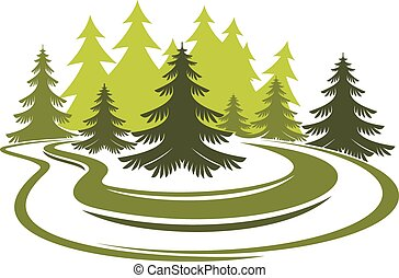 Forest glade with spruces on green grassy meadow - Forest...