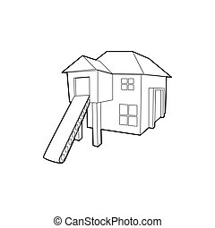 Forest house icon, outline style