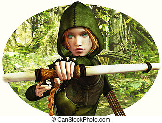 Forest Hunter - an archer girl in Robin Hood clothing