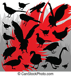 Forest hunting bird silhouettes illustration background vector