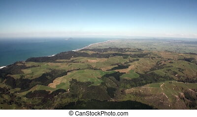Forest in landscape of ocean view from above in New Zealand.