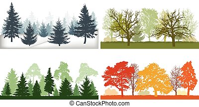 Forest in winter, spring, summer and autumn. Silhouettes of four seasons. Vector illustration.