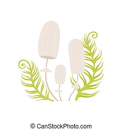 Forest Inedible Mushrooms and Green Growing Grass Vector ...