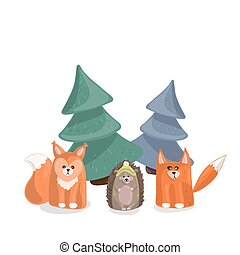 Forest inhabitants under the Christmas trees on a white background.