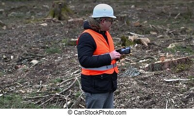 Forest inspector using tablet PC at cleared forest