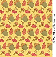 Forest items vector seamless pattern with acorn, cone, mushroom and berries. Autumn background.