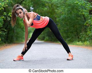 forest., jogging, dehnen, schöne , vorher, frau, junger, muskeln