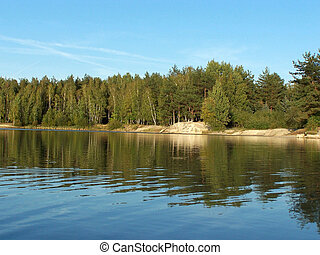 FOREST LAKE; TREES; FORMER GRAVEL PIT; SAXONIA; GERMANY
