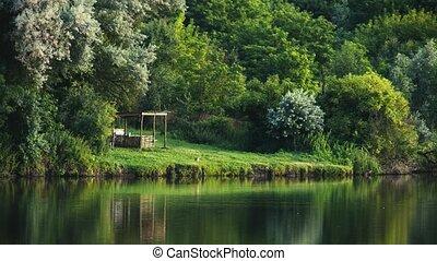 Forest lake in central Ukraine. 4K