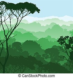 Forest Landscape - A Green Forest Landscape with Trees