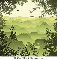 Forest Landscape - A Green Forest Landscape with Trees and...