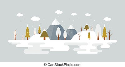forest landscape in winter, flat design illustration