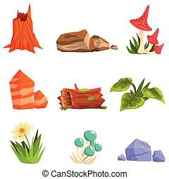 Forest Landscape Natural Elements, Plants And Mushrooms. ...