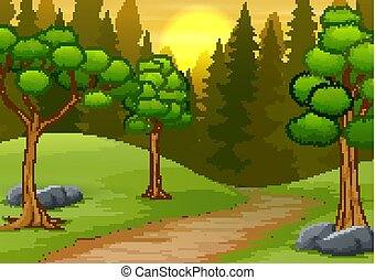 Forest landscape on sunset scene