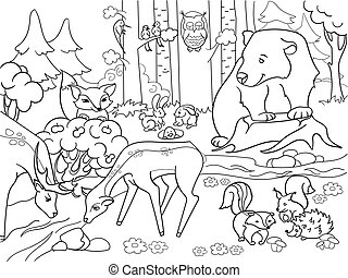 Forest Landscape with animals coloring raster for adults -...