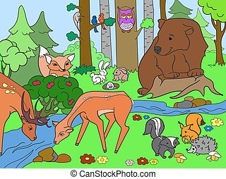 Forest Landscape with animals coloring vector for adults