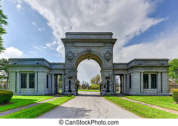Forest Lawn Cemetery in Buffalo, New York. Monuments, mausoleums and sculptures have attracted visitors for over 150 years