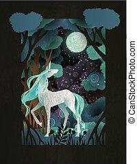 forest., magie, affiche, couverture, conte, livre, gabarit, licorne, devant, fée, ou
