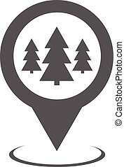 Forest map pointer icon vector simple