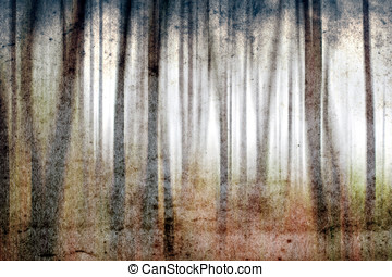 Forest - Misty forest grunge background; my own artistic...