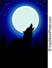 forest., mond, dunkel, heulen, wolf, hintergrund
