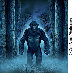 Forest monster concept with a werewolf lurking as a bigfoot creature coming out of a dark scary background with a moon glow behind it as a halloween horror symbol of haunted woods animal.
