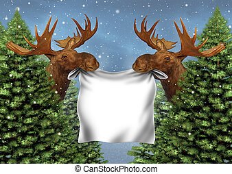 Forest Moose Sign - Forest moose sign with two northern wild...