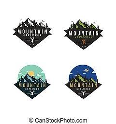 Forest, Mountain Adventure Badge Vector Logo, Sign, Icon Set