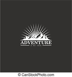 Forest, Mountain Adventure Burst Background Black And White Badge Vector Logo
