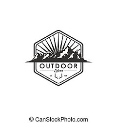 Forest, Mountain Adventure Deer Antlers, Black And White Badge Vector Logo