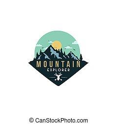 Forest, Mountain Adventure, Deer Hunter Badge Vector Logo, Icon, Sign