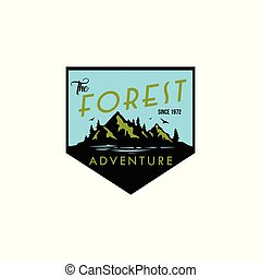 Forest, Mountain Adventure Log, Icon, Sign Badge Vector Design