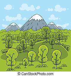 Forest Mountain - Cartoon mountains loom behind a fresh,...