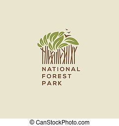 Forest national park logo. Outdoor activity, camping and...