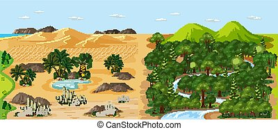 Forest nature landscape scene and desert with oasis landscape scene