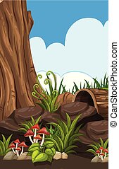 Forest nature scene conept illustration