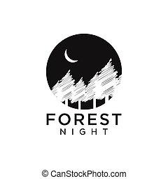 Forest night logo design template vector illustration